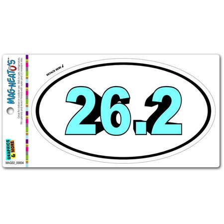 (26.2 Marathon Bold Blue Runner Running Euro Oval Automotive Car Refrigerator Locker Vinyl Magnet)