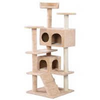"GHP Beige 52""x20"" Polyester Wool Particleboard Sisal Rope Scratching Post Cat Tree"