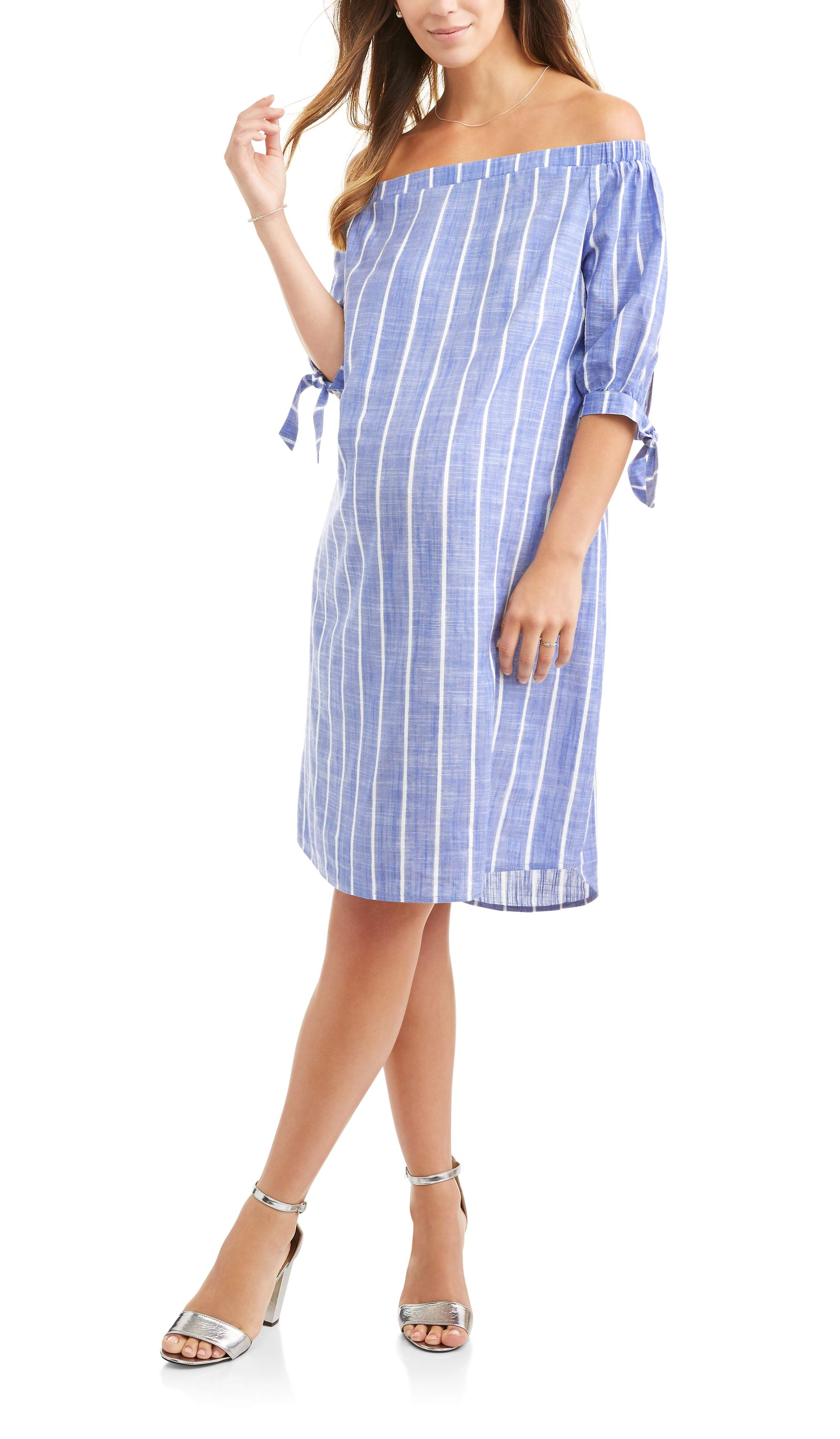 Whoa, Wait Maternity Off The Shoulder Dress with Tie Sleeves