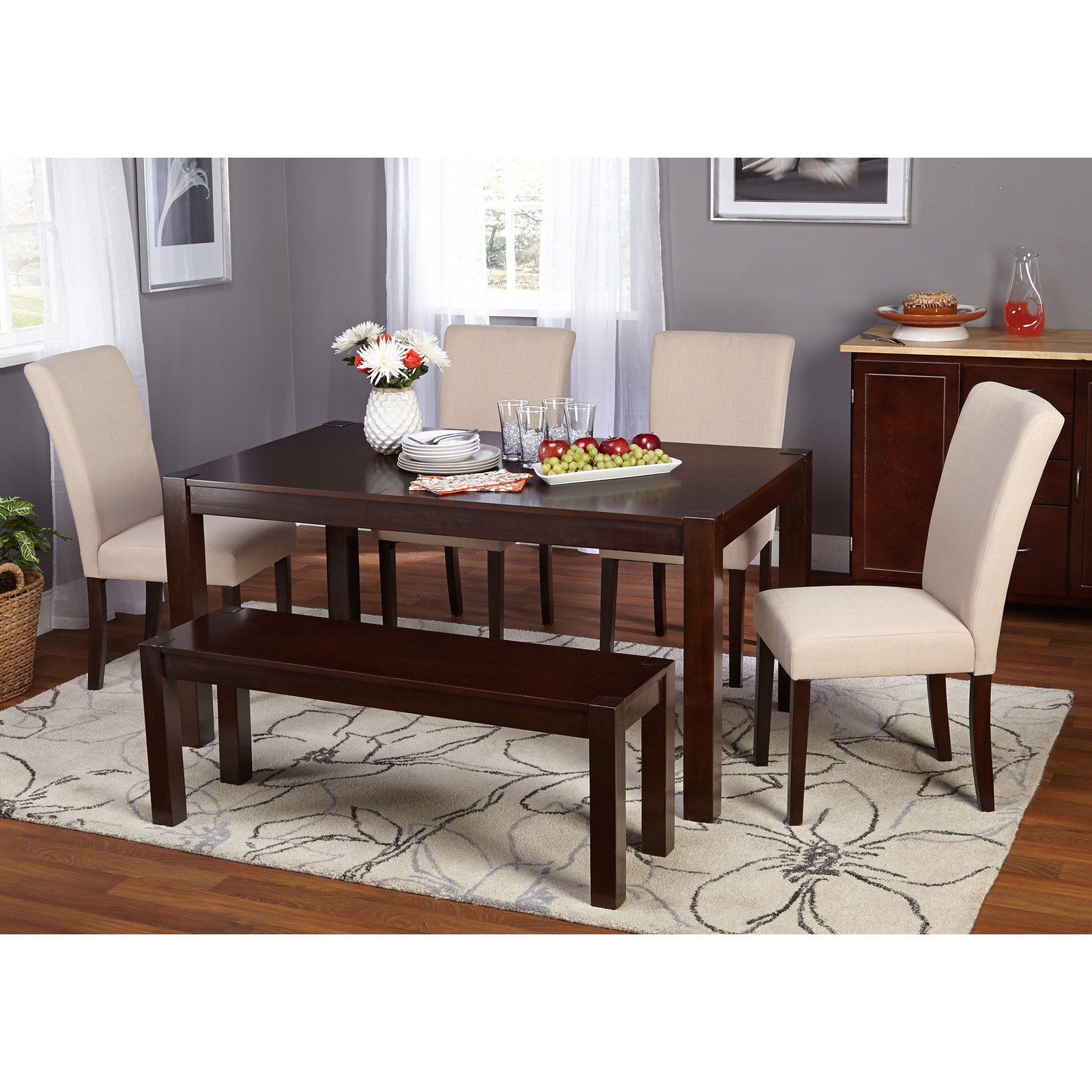 Target Marketing Systems Axis 6 Piece Dining Table Set With Bench    Walmart.com