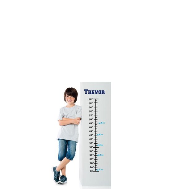 Baby Boy Blue Personalized Custom Name Vinyl Growth Chart Decal