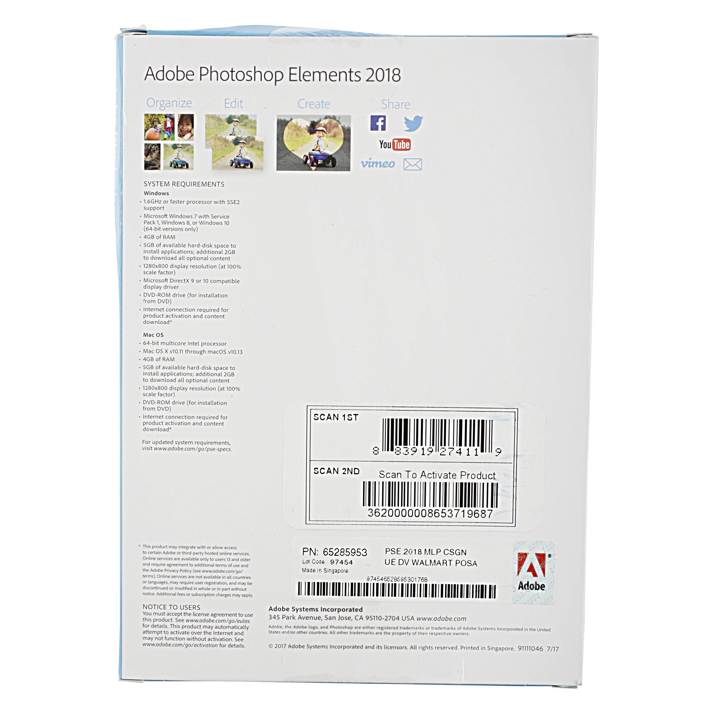 Adobe Photoshop Elements 2018 - Walmart com