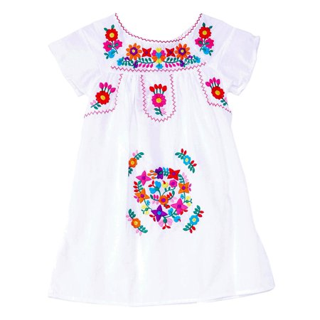 Unik Traditional Mexican Girl Embroidered Dress White Size 8 - Elsa Dress Size 8