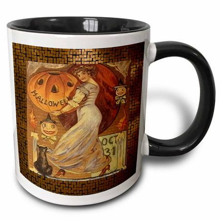 3dRose Vintage Halloween Lady holding Jack o Lantern - Two Tone Black Mug, 11-ounce