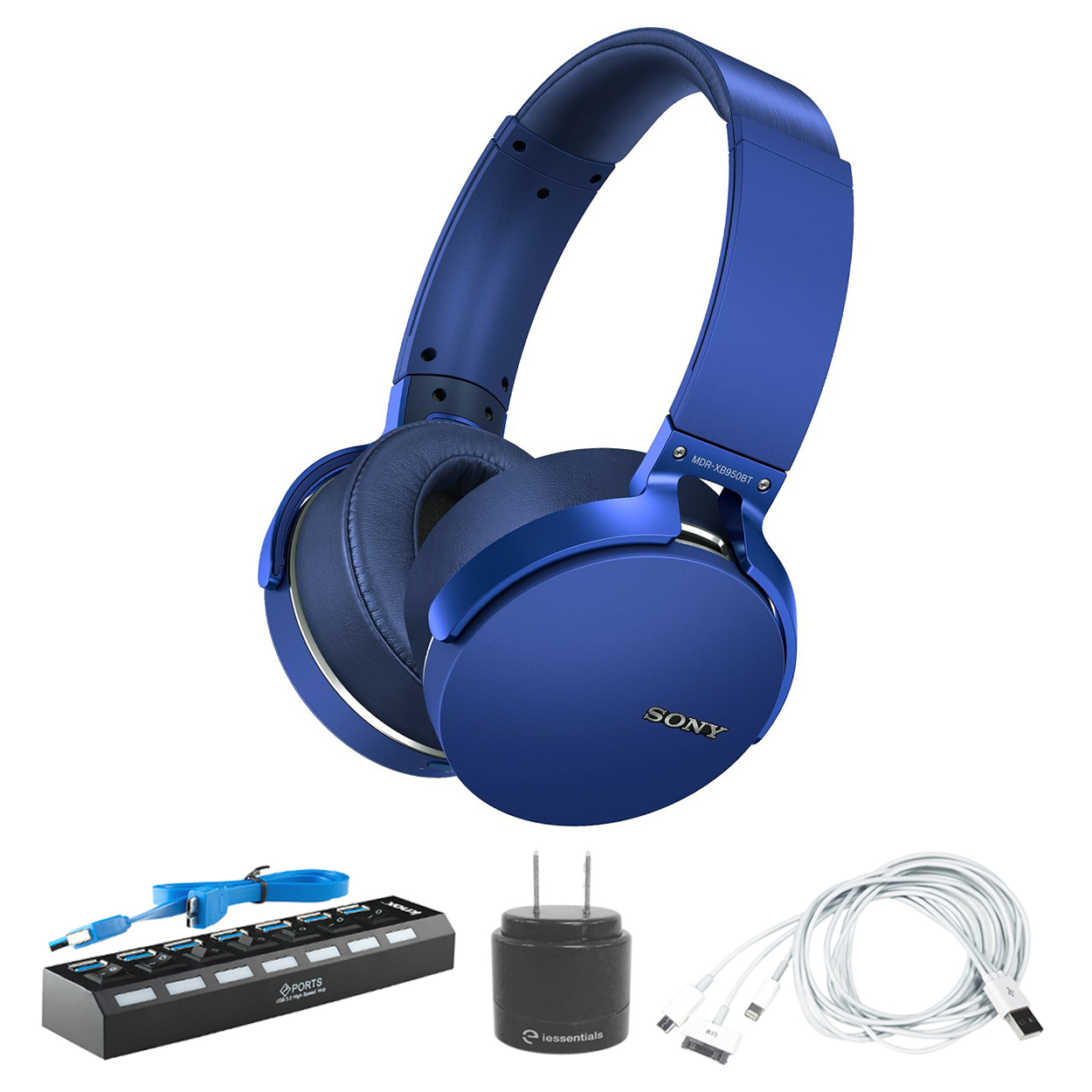 Sony Extra Bass Bluetooth Headphones (Blue) with 7-Port USB 3.0 Hub & Accessory Bundle