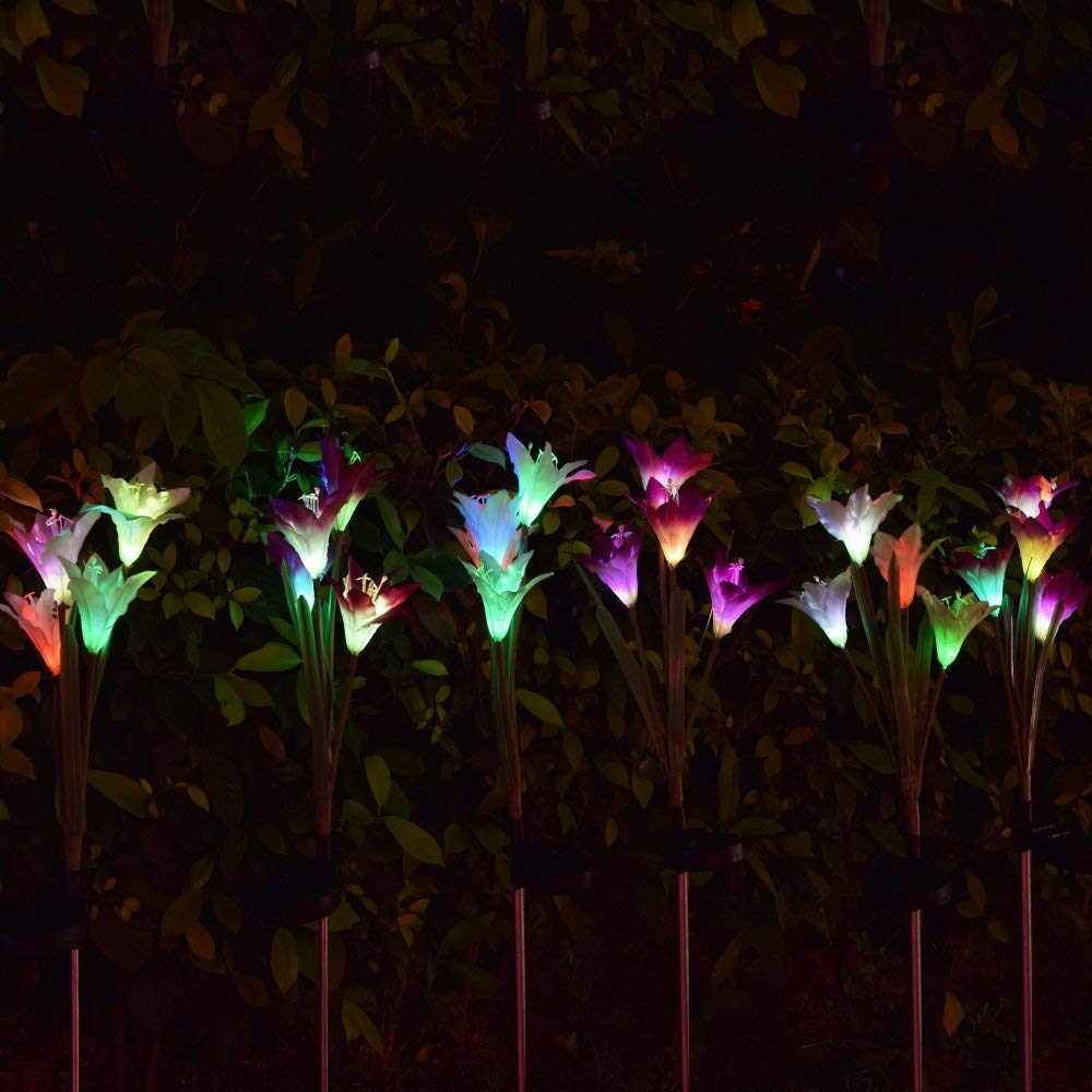2 Pack Outdoor Solar Garden Stake Lights Coolmade Ed With 8 Lily Flower Multi Color Changing Led For