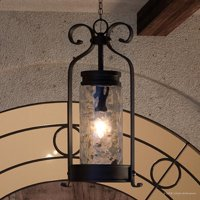 """Urban Ambiance Luxury Transitional Outdoor Pendant, Size: 26-1/2""""H x 12""""W, with Farmhouse Style Elements, Midnight Black Finish and Clear Water Shade, UHP1083"""