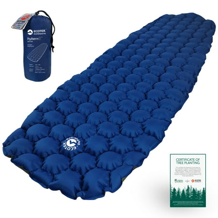 - EcoTek Outdoors Hybern8 Ultralight Inflatable Sleeping Pad for Hiking Backpacking and Camping - Contoured FlexCell Design - Perfect for Sleeping Bags and Hammocks (Ocean Blue)