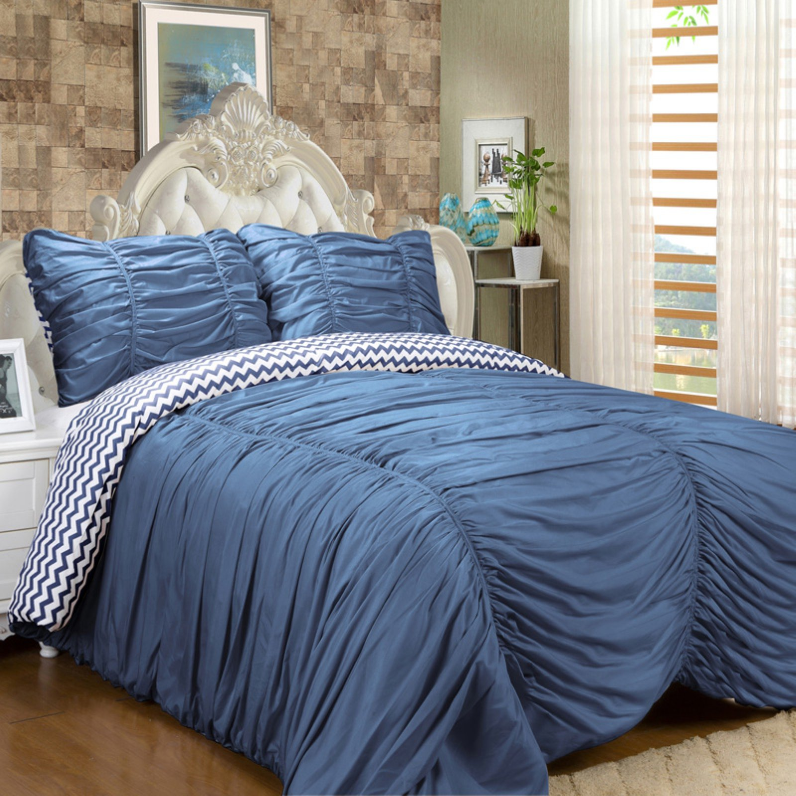 Ruched Reversible Down Alternative Comforter by Isabella