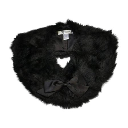 Black Faux Fur Collar Scarf With Removable Black Satin Bow Wrap Stole