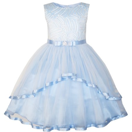 Sunny Fashion Flower Girls Dress Blue Belted Wedding Party Bridesmaid Size - Scary White Dress