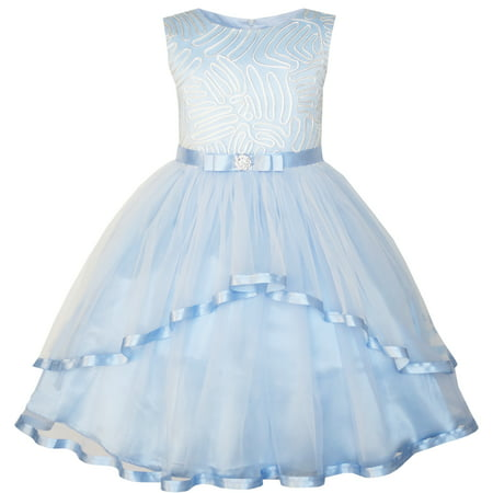 Sunny Fashion Flower Girls Dress Blue Belted Wedding Party Bridesmaid Size 4-12 - Blue Christmas Dresses For Girls