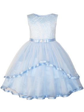 5061645632 Product Image Sunny Fashion Flower Girls Dress Blue Belted Wedding Party  Bridesmaid Size 4-12