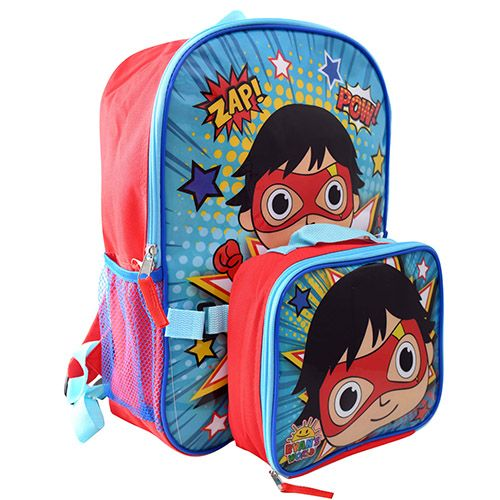 """Ryan/'s World 16/"""" School Book Bag Backpack with Detachable Lunch Box"""