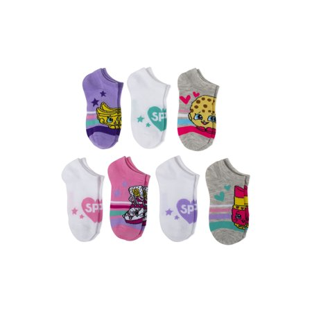 Shopkins No Show Socks, 5 + 2 Bonus Pack (Little Girls & Big Girls) (Show Girl)