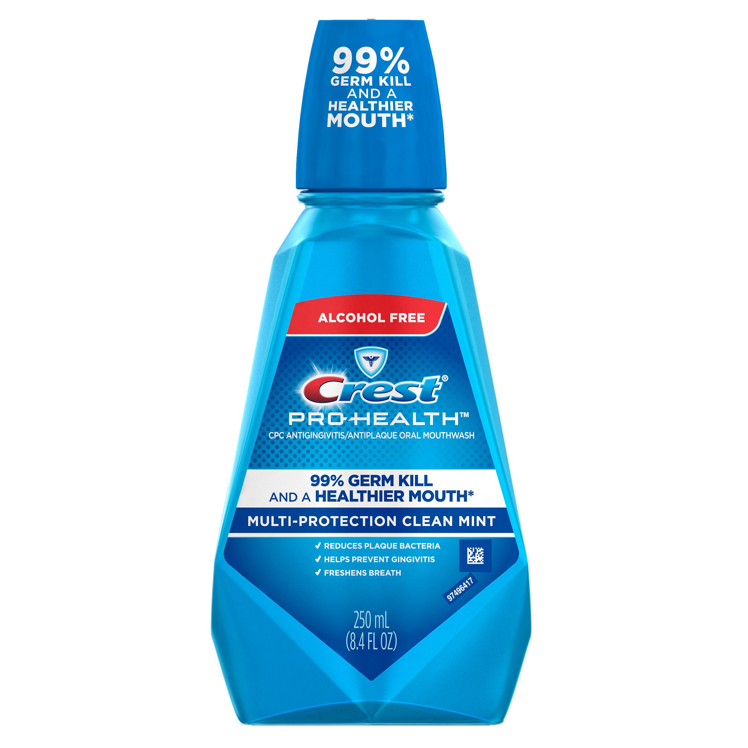 Crest Pro-Health Multi-Protection Alcohol Free Mouthwash, Clean Mint, 8.4 fl oz (250 mL)