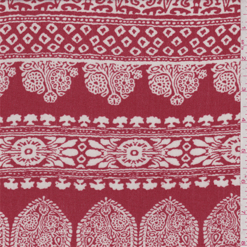 Fire Red Paisley Stripe Crepon, Fabric By the Yard