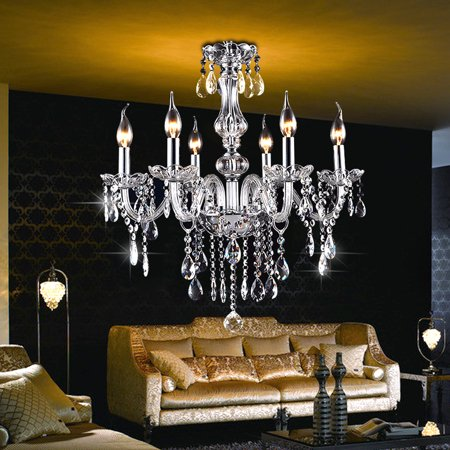 600W E12 6 Lights Candle Clear Crystal Chandelier Elegant Ceiling Light Fixture Modern Elegant Pendant Hanging Lamp Lighting AC110V/220V DIY Decal For Home Decor Bedroom Restauran