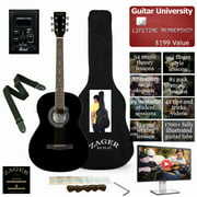 Easy Play No Sore Fingers Acoustic Guitar Package 38 Inch Parlor Size Black Lacquer Finish With Auto Tuner