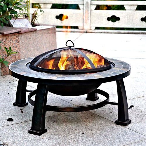 "Dover 30"" Round Slate Fire Pit Table"