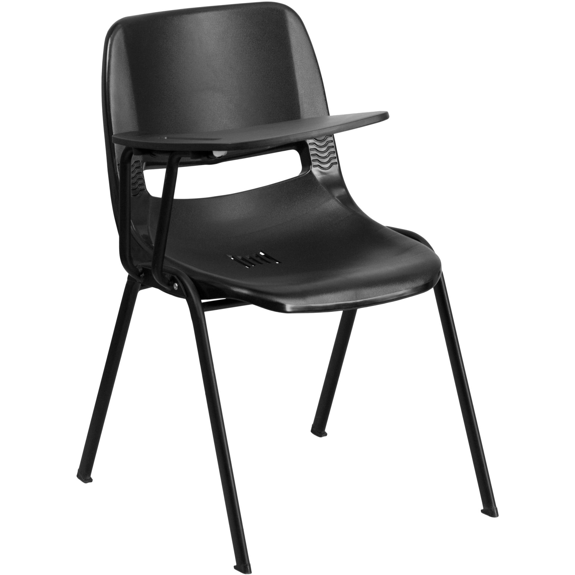 Flash Furniture Ergonomic Shell Chair with Right-Handed Flip-Up Tablet Arm, Black
