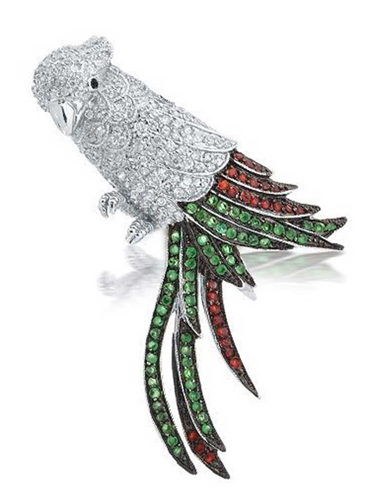 Multicolor Parrot Brooch Cubic Zirconia Animal Pendant Rhodium Plated by Bling Jewelry