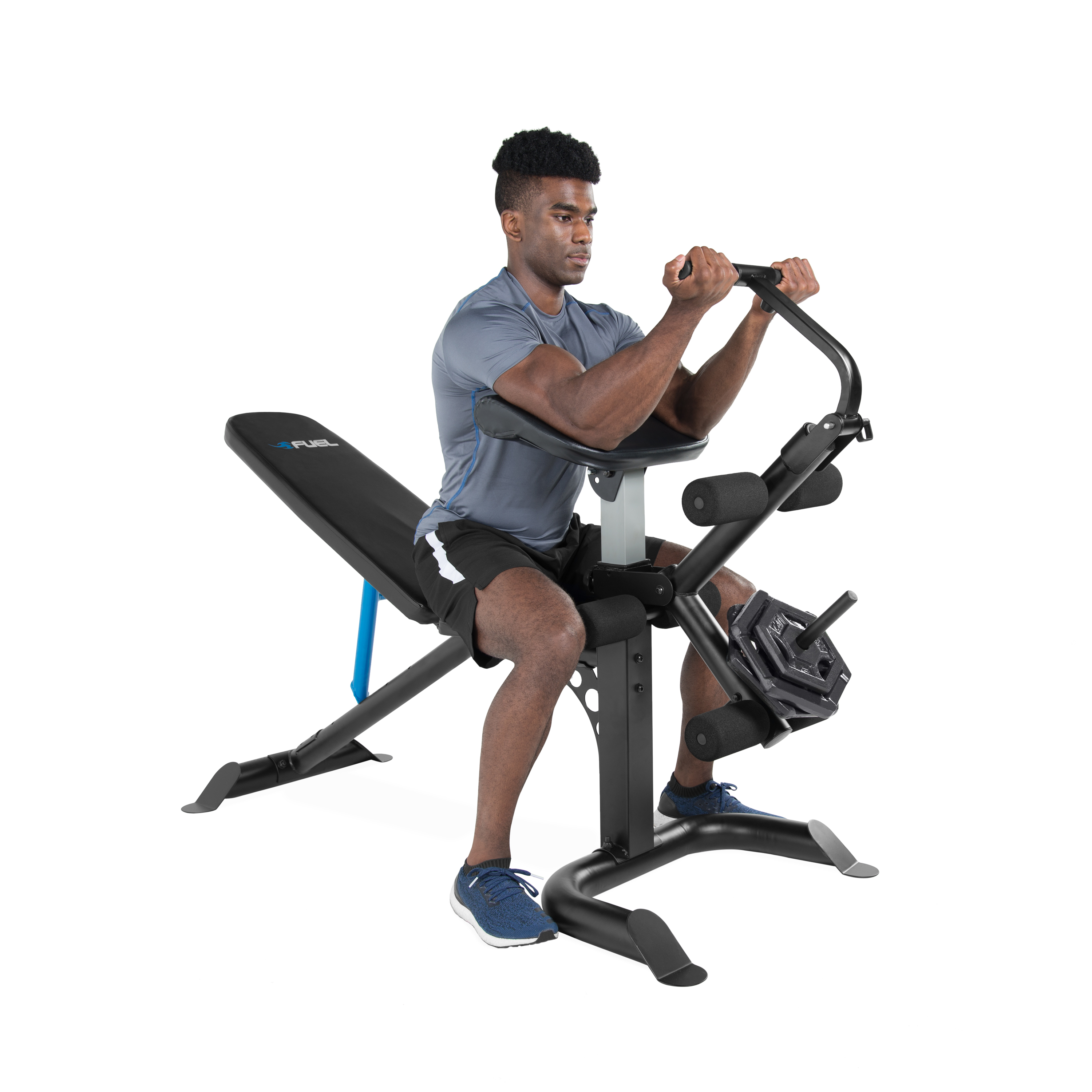 Fuel Pureformance Adjustable Utility Weight Bench with Curl Attachment