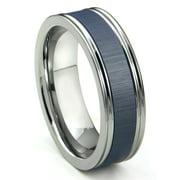 Titanium Kay Tungsten Carbide Blue Ceramic Inlay Wedding Band Ring with Horizontal Satin Finish Sz 10.0