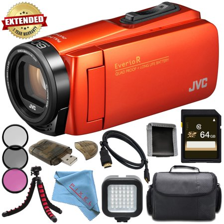 JVC Everio GZ-R460BUS Quad-Proof HD Camcorder with 40x Optical Zoom (Orange) + Sony 64GB High Speed UHS-I SDXC U3 Memory Card (Class 10) + 37mm 3 Piece Filter Kit + LED Light Bundle (Camcorders 70 Optical Zoom)
