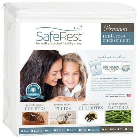 SafeRest Premium Mattress Encasement - 100% Waterproof, Bed Bug Proof, Hypoallergenic (Multiple Sizes) - 360 Secure Micro Zipper - 10-Year