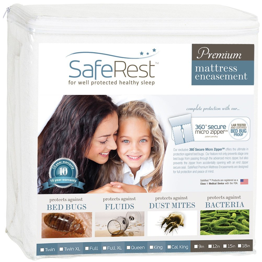 SafeRest Premium Mattress Encasement - 100% Waterproof, Bed Bug Proof, Hypoallergenic (Multiple Sizes) - 360 Secure Micro Zipper - 10-Year Warranty