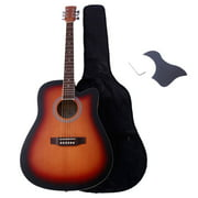 41in Beginner Acoustic Cutaway Guitar Kit Musical Instrument Set w/Bag & Protect Board & Wrench Tool - Sunset Color