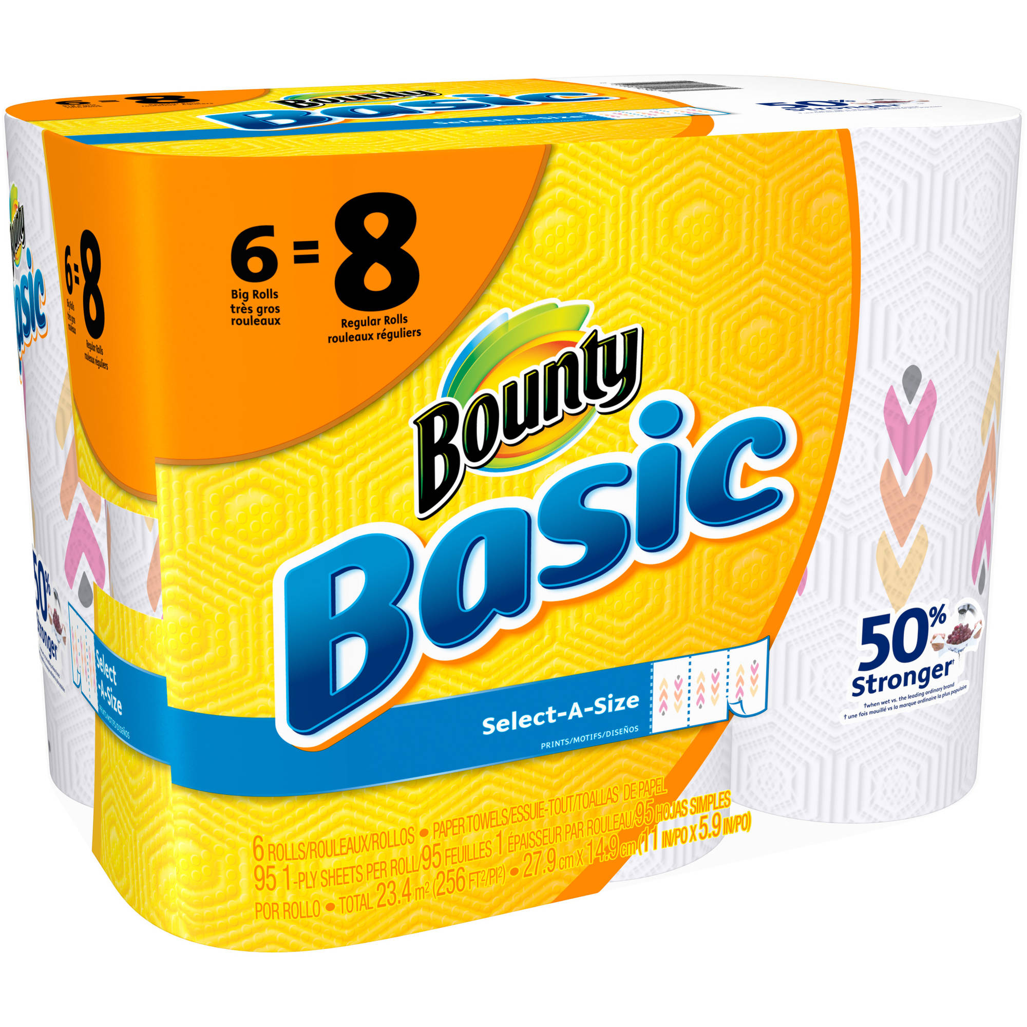 Bounty Basic Big Roll Select-a-Size Print Paper Towels, 95 sheets, 6 rolls