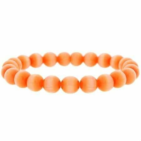 Orange Cats Eye Stone 8mm Bead Beaded Stretch Bracelet