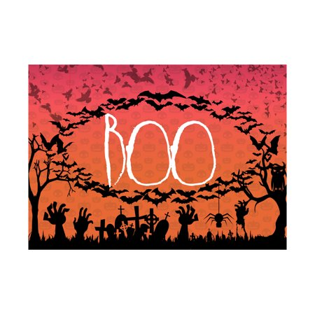 Bats Flying Tombstones Spider Owl Trees Sunset Large Pumpkin Background Picture Boo Print Scary Halloween Seas, 12x18 ()