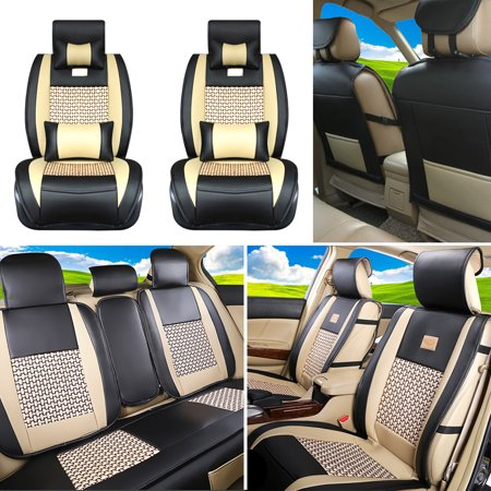 Universal 5 Seat Car Needlework Leather Front Rear Car Seat Cushion Cover Pad - image 3 de 7