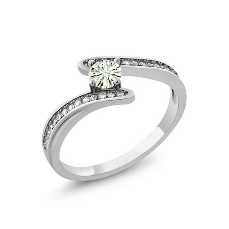 925 Sterling Silver Ring Forever Classic Round Created Moissanite 0.23ct DEW