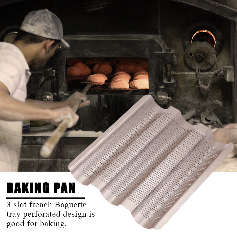 Ashata 10inch French Bread Pan Baguette Baking Tray Perforated 3-slot Non Stick Bake, Baking Tools, Baking Pan by