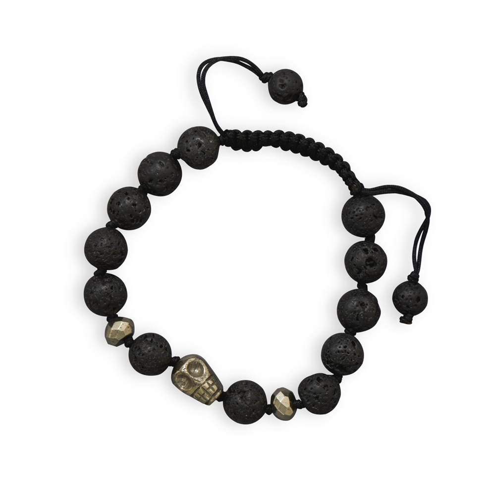 Skull Bead with Lava and Pyrite Bead Mens Bracelet Adjustable Length