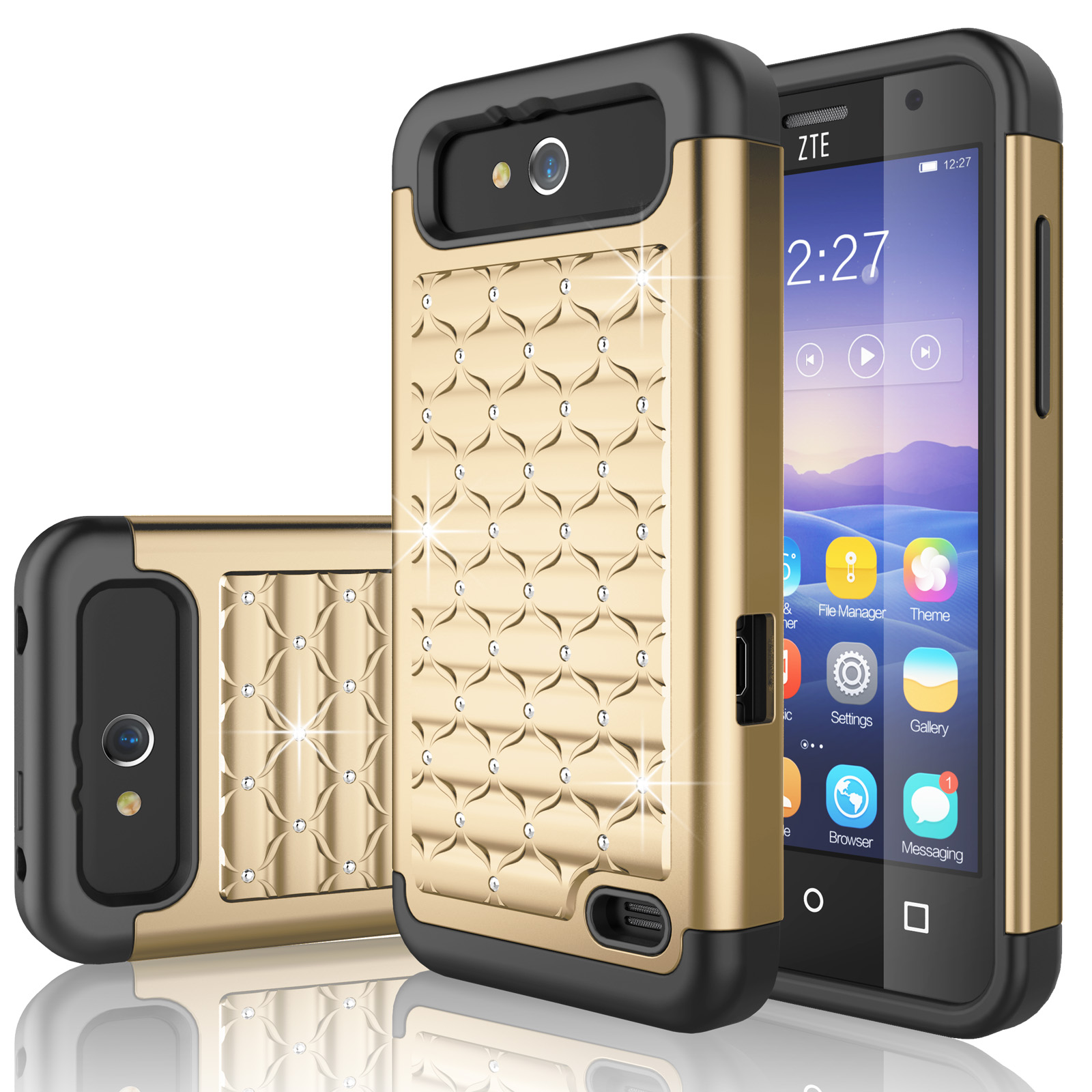 ZTE Maven Case, ZTE Overture 2 Case, Tekcoo® [Tstar Series] Studded Rhinestone Crystal Bling Rubber Defender Plastic Rugged Case Cover For ZTE Maven / Overture 2 / Speed / Fanfare