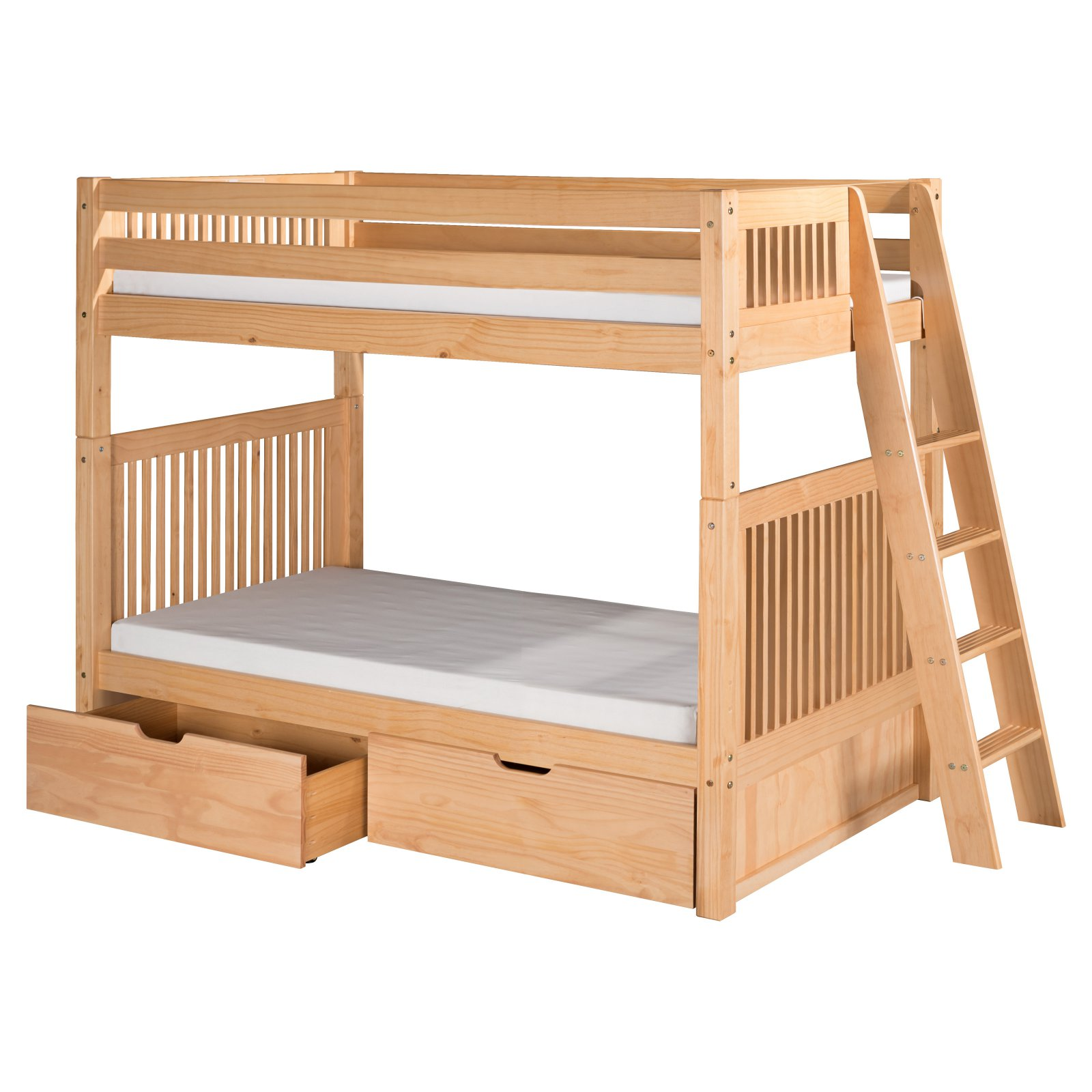Camaflexi Twin over Twin Bunk Bed with Twin Trundle - Mission Headboard - Lateral Angle Ladder - Natural Finish
