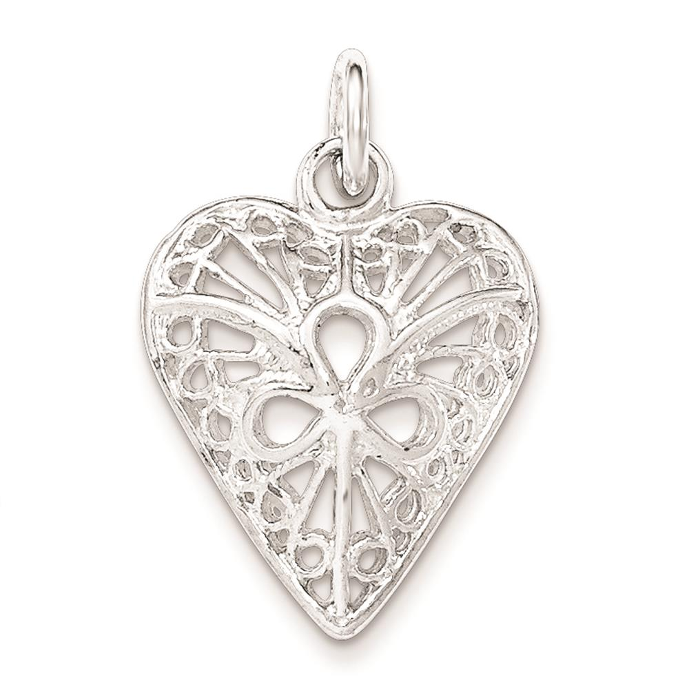 925 Sterling Silver Polished Filigree Heart 3 Teardrop Open Center Charm Pendant