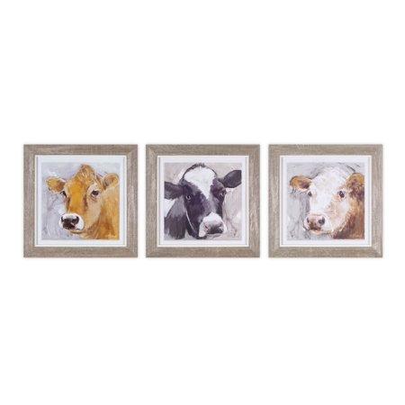 Framed Cow Print (Set of 3) (Iii Framed Print Set)