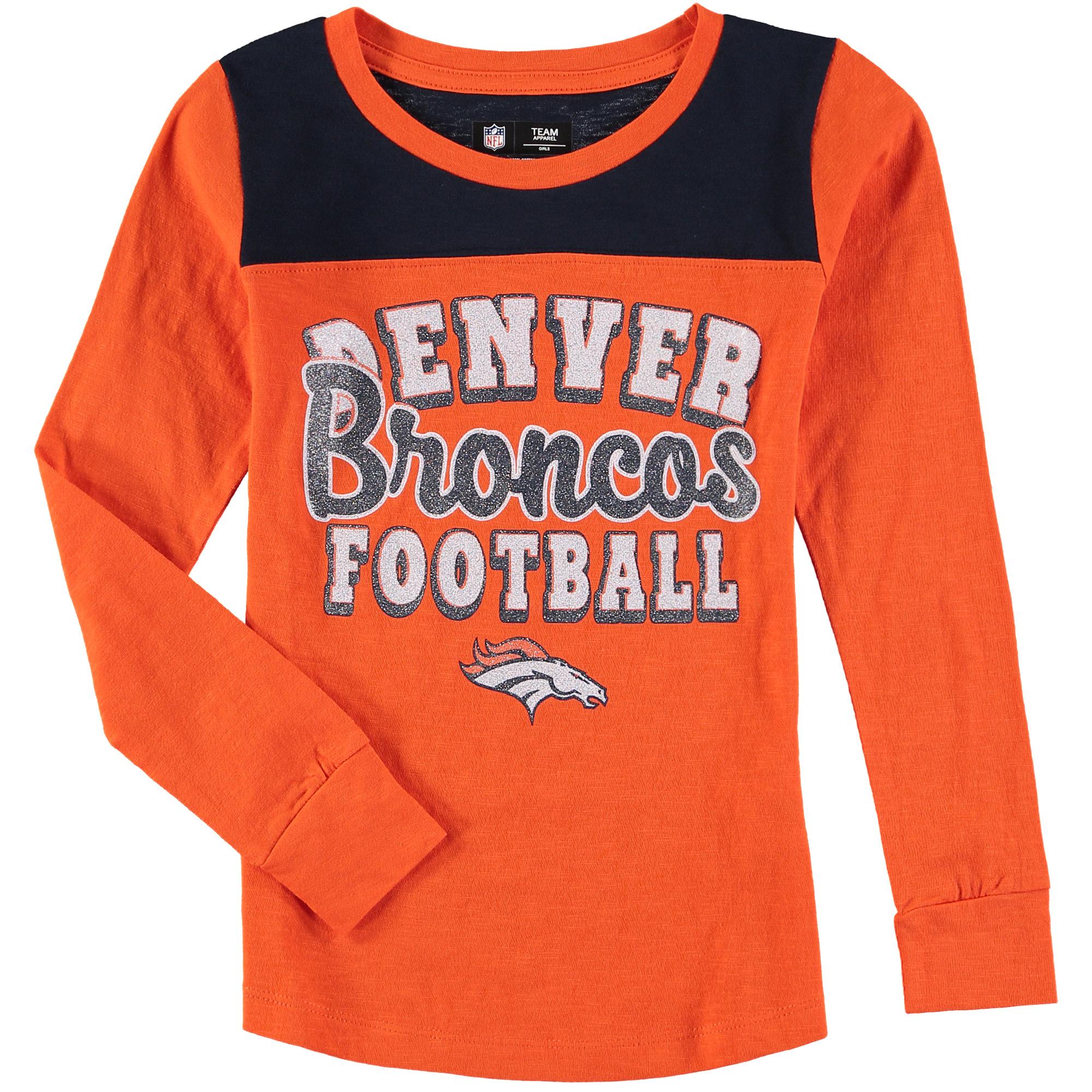 Denver Broncos 5th & Ocean by New Era Girls Youth Glitter Football Long Sleeve T-Shirt - Orange