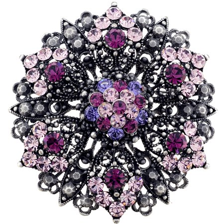 Crystal Religious Brooch - Purple Flower Wedding Amethyst Crystal Pin Brooch And Pendant