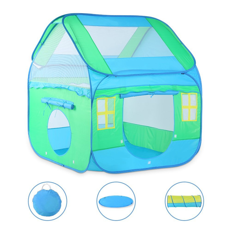 Large Kids Playhouse Tent with Tunnel -Pop Up for Easy Storage Indoor & Outdoor Play Tent For Boys & Girls