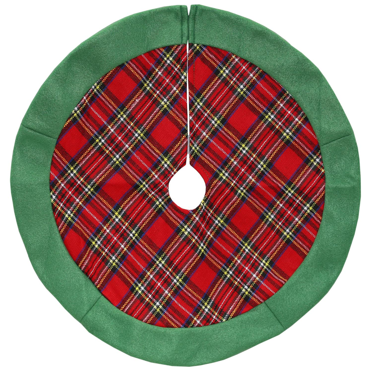 "24"" Red and Green Plaid Christmas Tree Skirt with Green Felt Border"