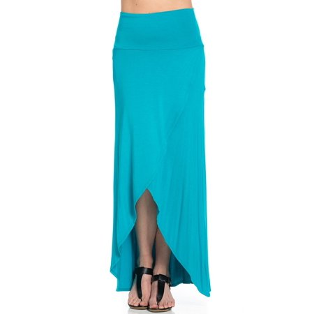 Sassy Apparel Womens Casual to Office Soft Comfortable Elastic Spring Summer Solid Color Long Flowy Tulip Asymmetrical Design  Fashion Skirt