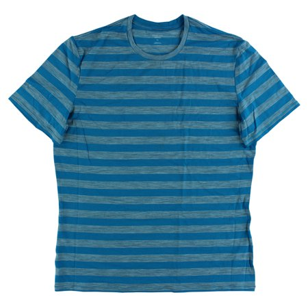 Mens Icebreaker - Icebreaker Mens Anatomica Stripe Crew Short Sleeve Shirts Blue