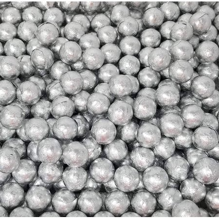 Silver Foil Milk Chocolate Candy Balls, Party Favorite Candy, Bulk 1 Pound